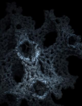 유룡 기초과학연구원(IBS) 나노물질 및 화학반응연구단장(KAIST 화학과 특훈교수)팀이 세계 최초로 합성에 성공한 '3차원 그래핀'을 확대한 모습. 나노 구조체인 제올라이트의 지름 1nm(나노미터·1nm는 10억분의 1m) 이하인 작은 구멍 안쪽 사이사이에 그래핀이 스펀지 모양의 균일한 3차원 결정 구조를 이루고 있다. - IBS 제공